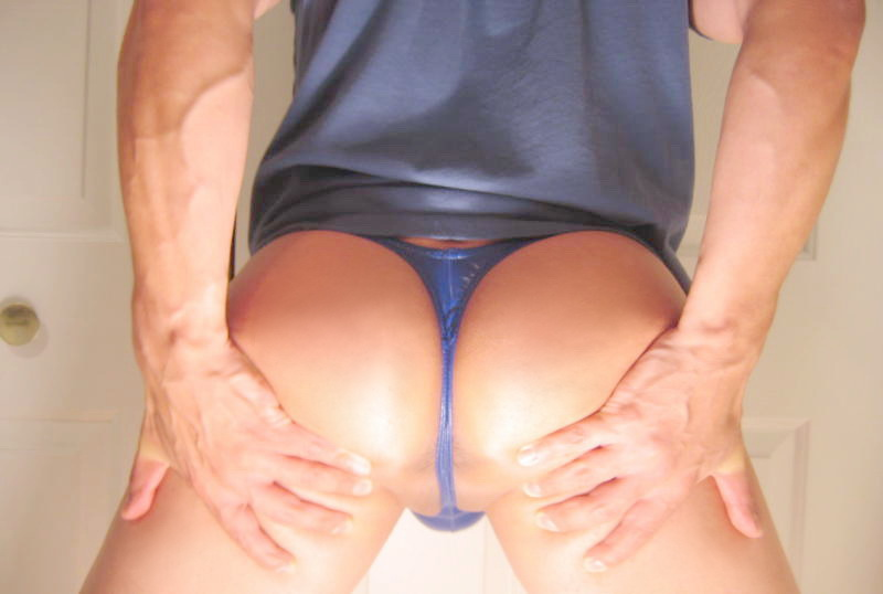 Me in a blue vinyl Very Low Push Up thong
